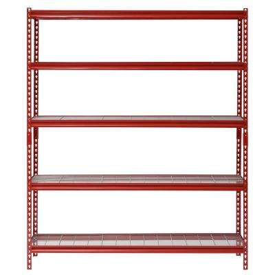 72 in. H x 60 in. W x 24 in. D 5-Shelf Z-Beam Boltless Steel Shelving Unit in Red