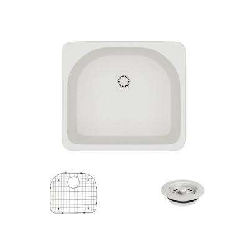 Drop-In Quartz 25 in. Single Basin Kitchen Sink in Ivory