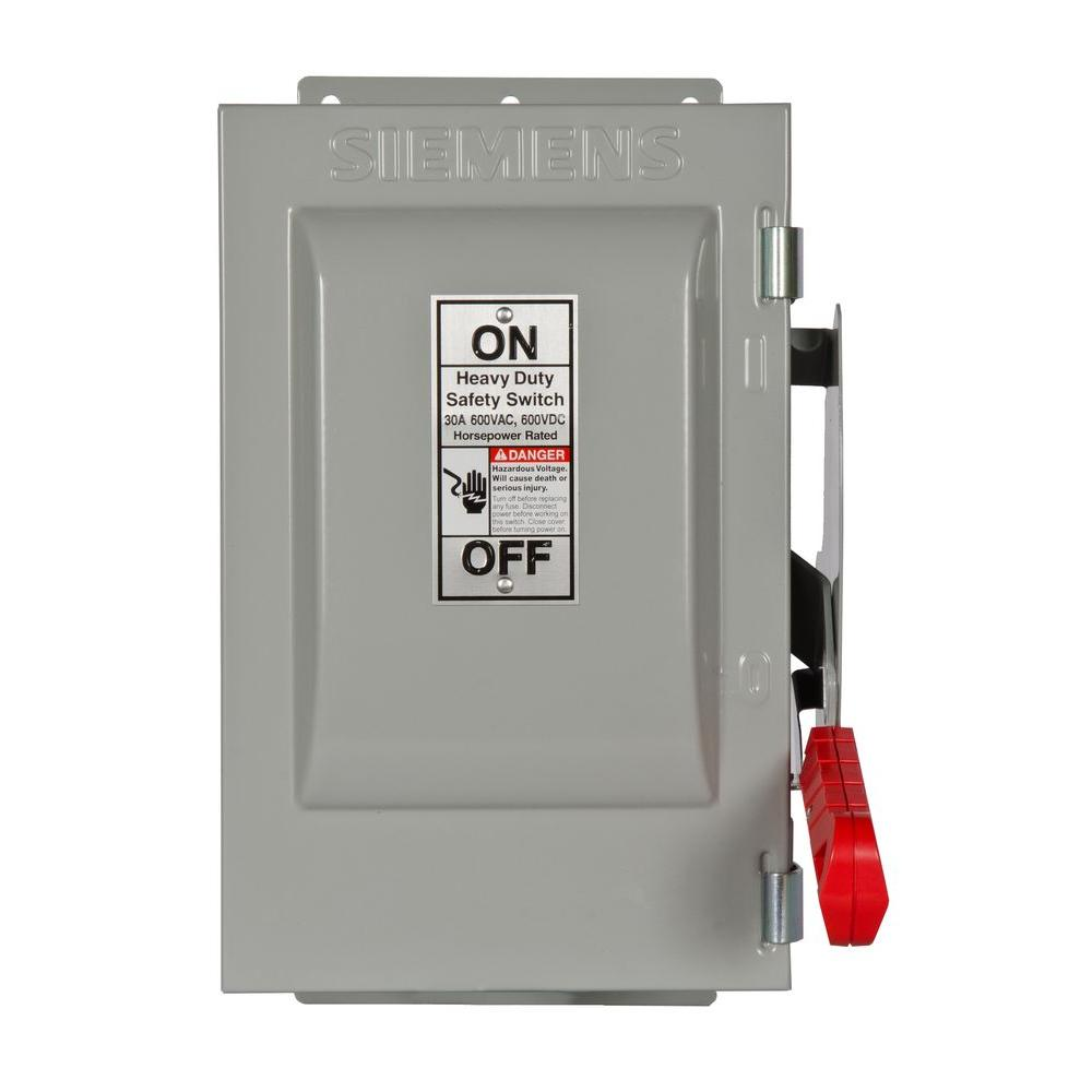 Siemens Heavy Duty 30 Amp 600-Volt 2-Pole Type 12 Non-Fusible Safety ...