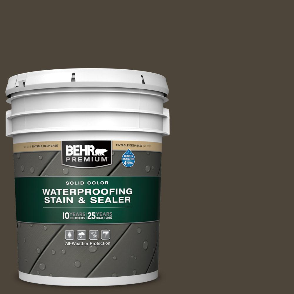 BEHR PREMIUM 5 gal. #SC-104 Cordovan Brown Solid Color Waterproofing Exterior Wood Stain and Sealer