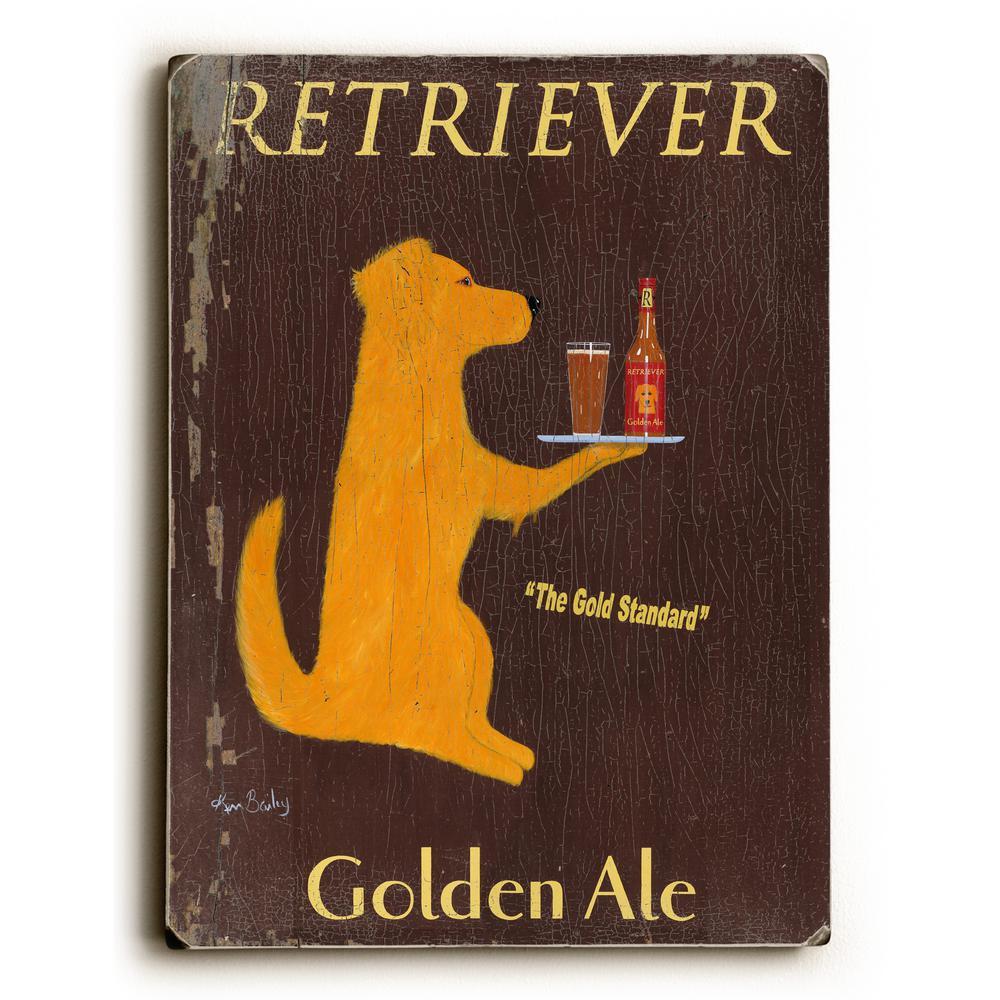 """9 in. x 12 in. """"Retriever Golden Ale"""" by Ken Bailey """"Solid Wood"""" Wall Art"""