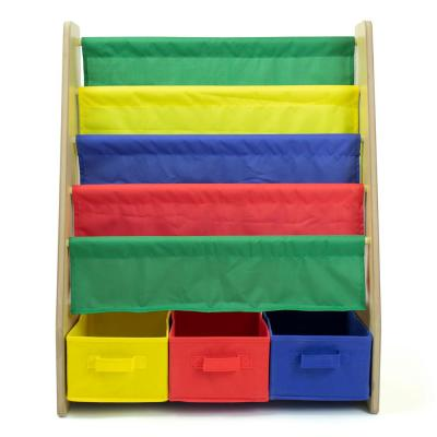 Kids Multi Color Bookshelf 4-Tier Book Storage and Fabric Bin Organizer