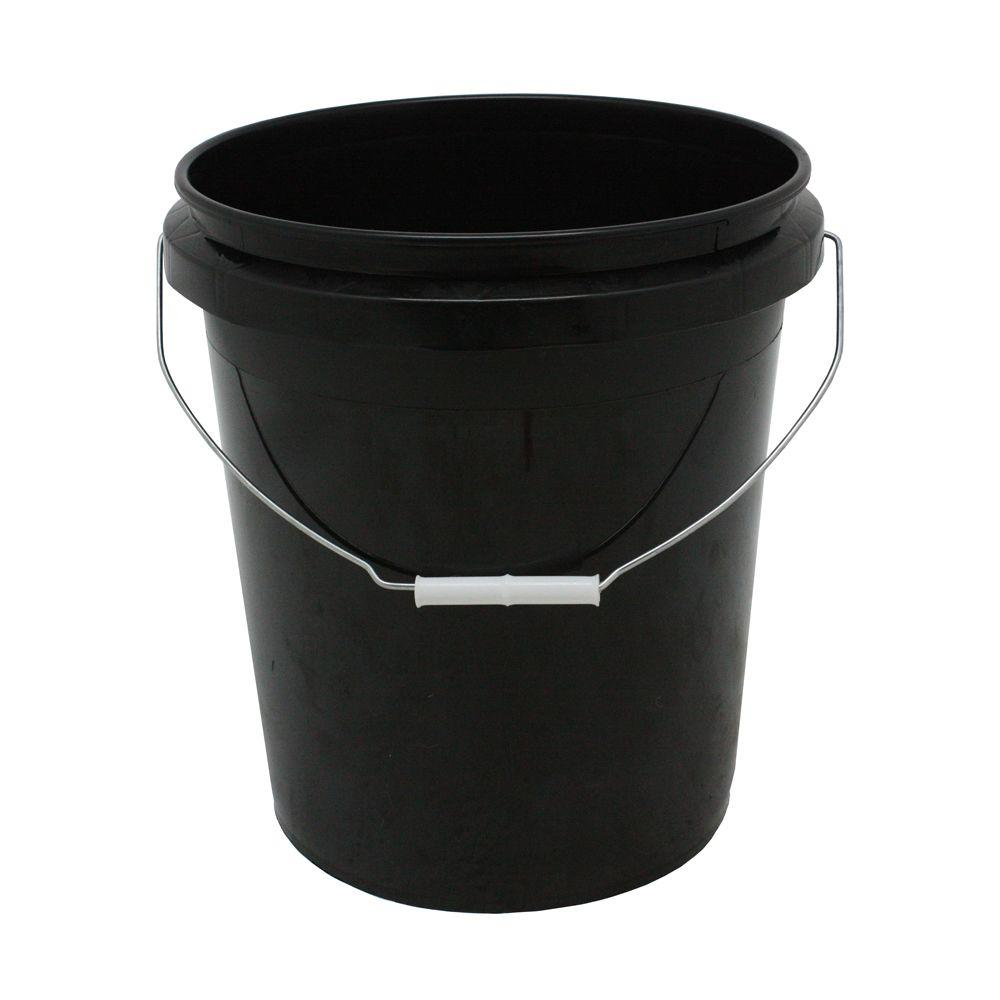 Hydroponics Organic 5 Gal. Black Plastic Bucket with Handle (3-Pack)
