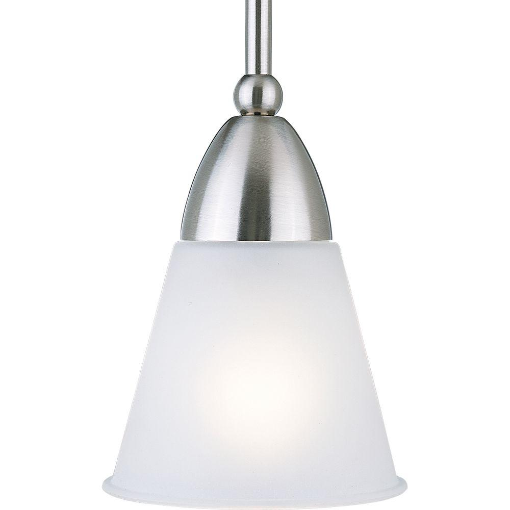 1-Light Brushed Nickel Mini Pendant with Etched Glass