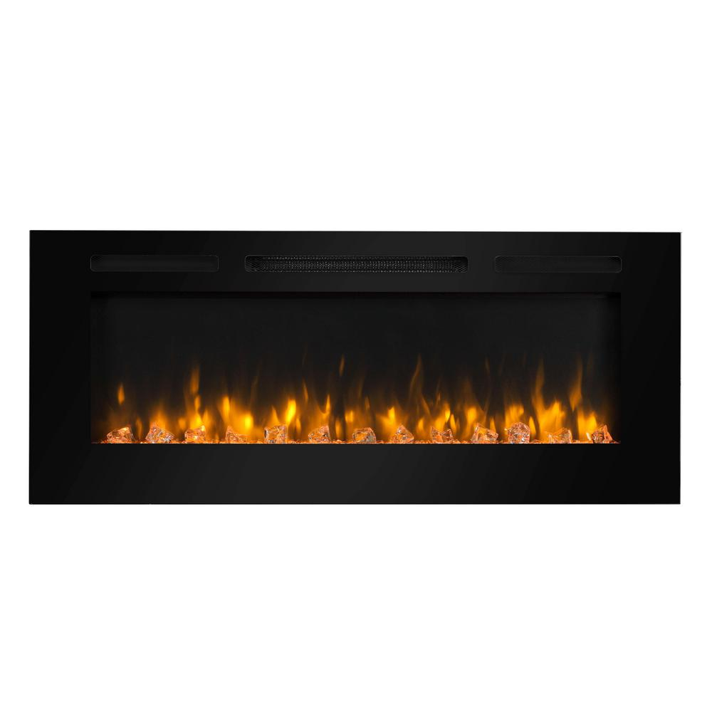 Dynasty Fireplaces 48 in. Built-in LED Electric Fireplace in Black Glass