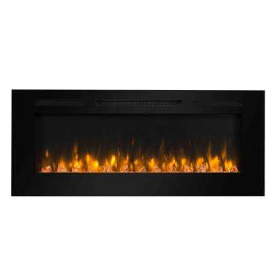 48 in. Built-in LED Electric Fireplace in Black Glass