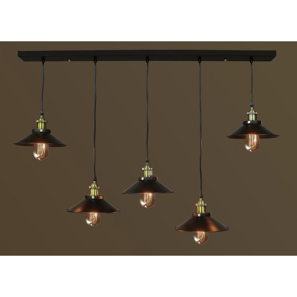 Hanging Lamp Light: Edison Hollie Collection 5-Light Black Clear Glass Indoor