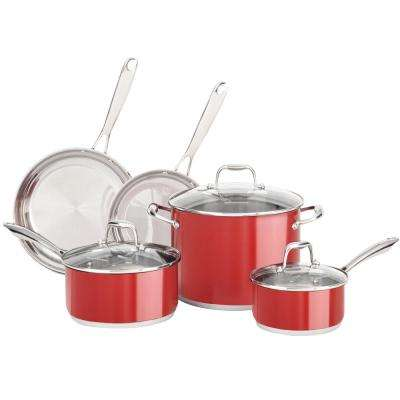 8-Piece Stainless Steel Cookware Set in Empire Red