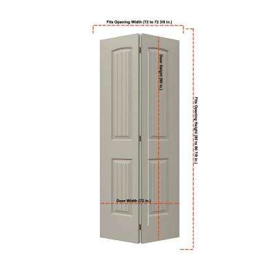 36 in. x 80 in. Santa Fe Desert Sand Painted Smooth Molded Composite MDF Closet Bi-fold Double Door