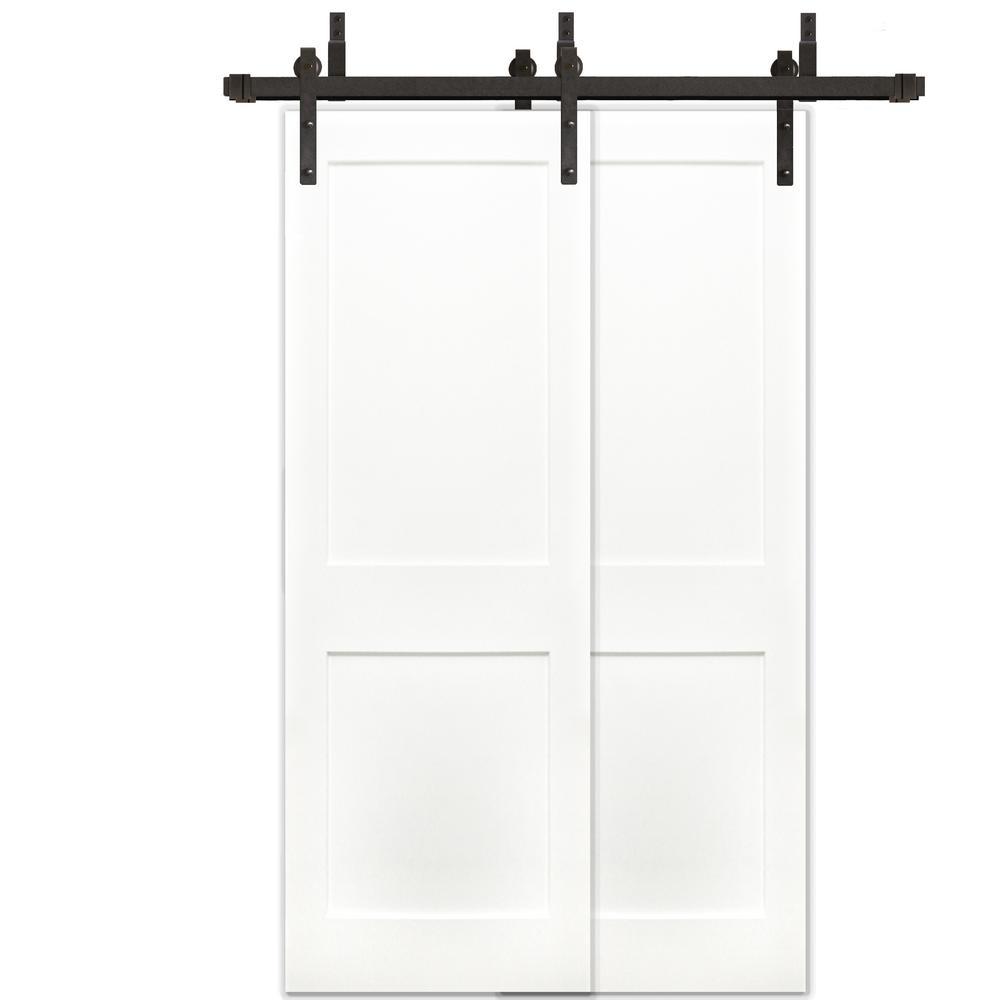 48in.x80in. Bypass Shaker Unfinished 2-Panel Solid Core Prime Pine Wood Barn Door with Bronze Sliding Door Hardware Kit