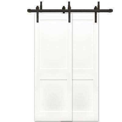 48 in. x 80 in. 2-Panel Solid Core Prime Pine Wood Barn Door with Bronze Sliding Door Hardware Kit and Soft Close