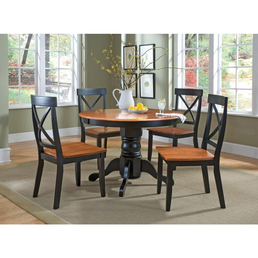 Home Styles 5-Piece Black and Oak Dining Set-5168-318 - The Home Depot