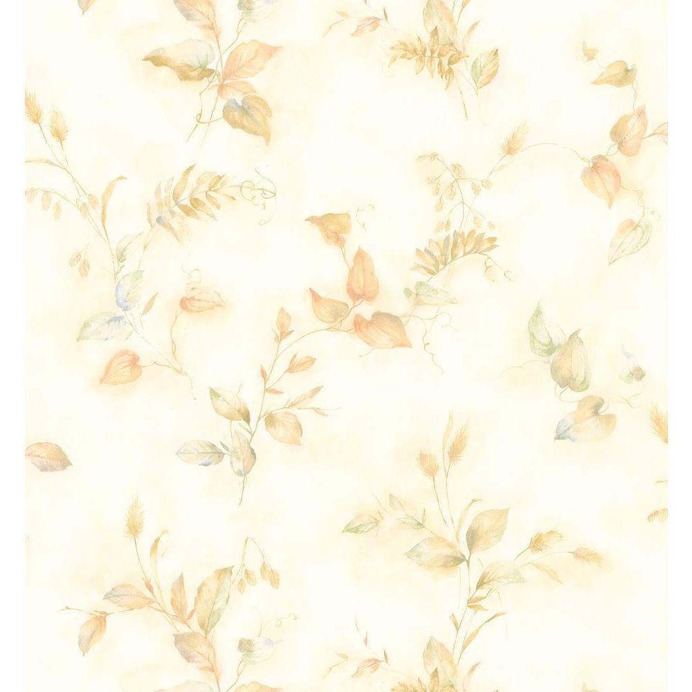Kitchen Bath Bed Resource III Neutral Crinkle Leaf Wallpaper Sample