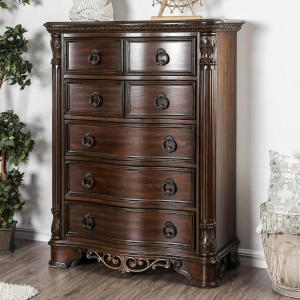 Menodora Brown Cherry Transitional Style Chest of Drawers