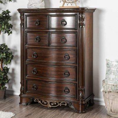 Menodora Transitional Style Chest in Brown Cherry Finish