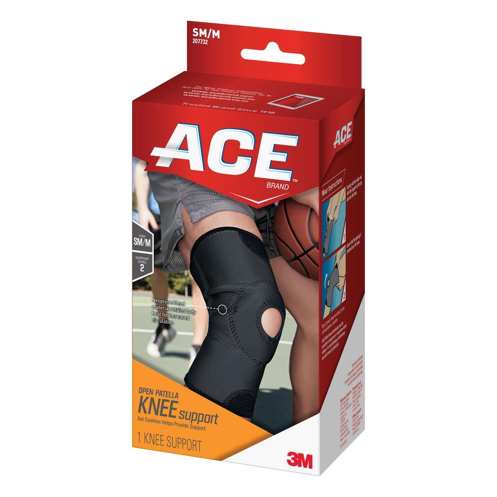 Small/Medium Open Patella Knee Support Brace in Black