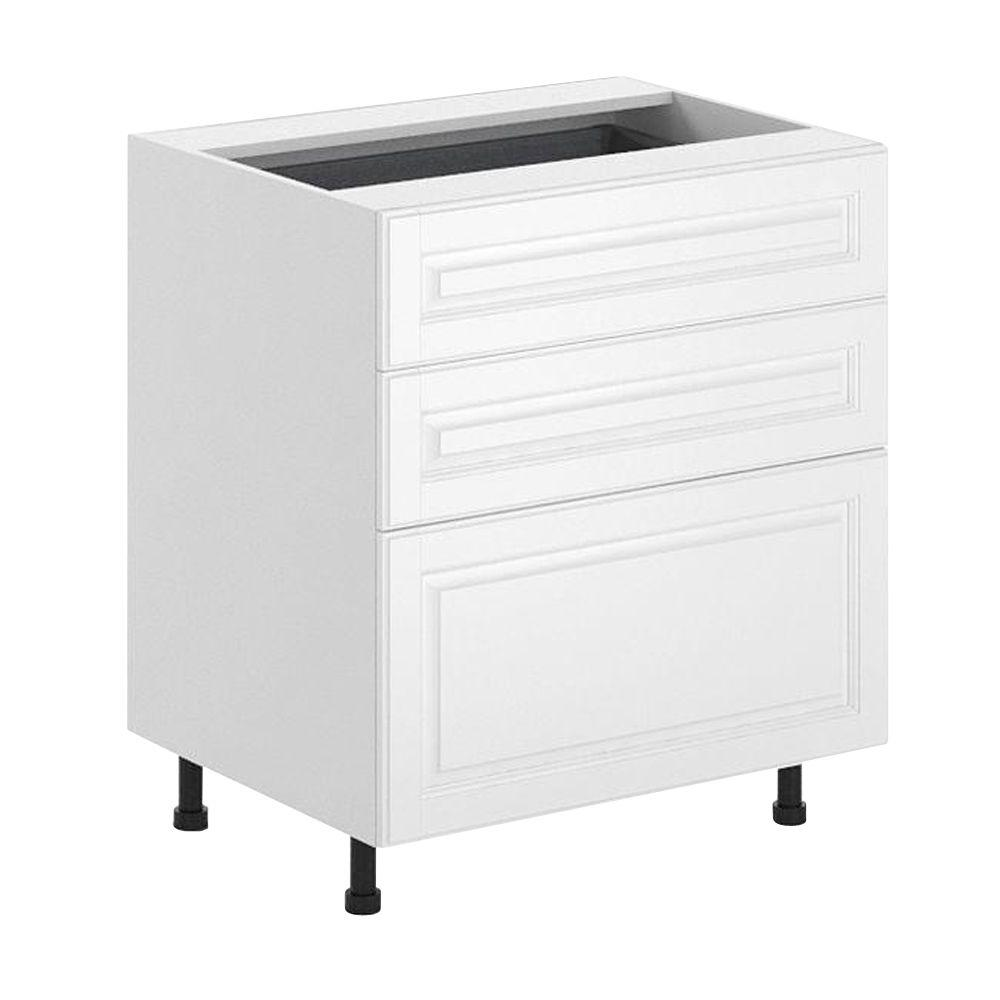 Outstanding Eurostyle Birmingham Ready To Assemble 30 X 34 5 X 24 5 In 3 Drawer Base Cabinet In White Melamine And Door In White Download Free Architecture Designs Embacsunscenecom