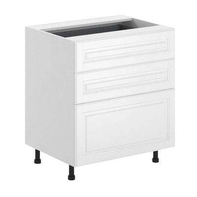 Birmingham Ready to Assemble 30 x 34.5 x 24.5 in. 3-Drawer Base Cabinet in White Melamine and Door in White