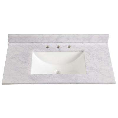 37 in. W x 22 in. D Stone Effects Vanity Top in Carrera with White Sink