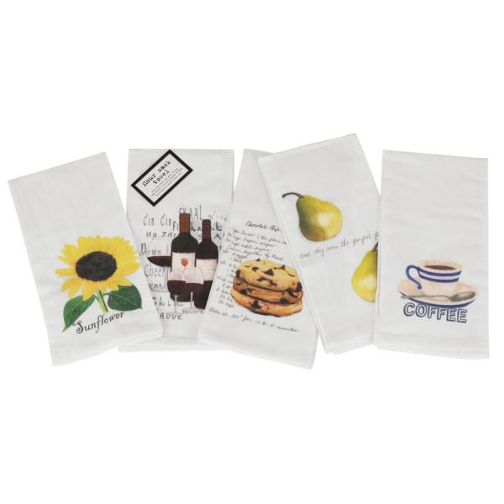 Art Style Design Living Vintage Flour Sack Printed Towels (Set of 5)