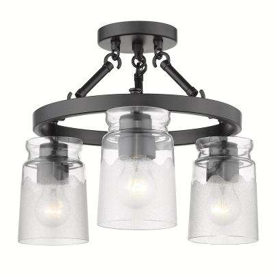 Travers 3-Light Black Semi-Flush Mount