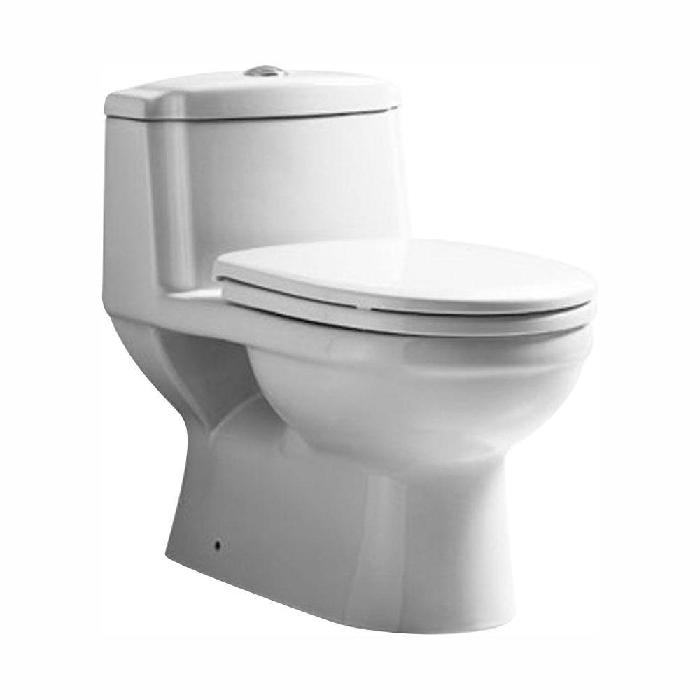 Magic Flush 1-Piece 1.6/1.1 GPF Dual Flush Elongated Toilet in White