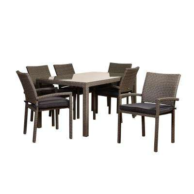 Atlantic Liberty 7-Piece Wicker Outdoor Dining Set with Grey Cushions
