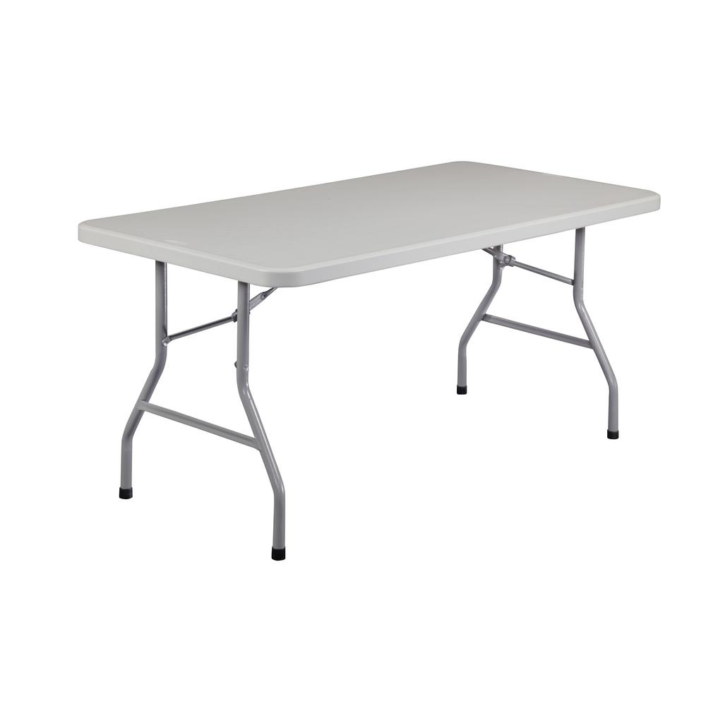 National Public Seating 60 in. Grey Plastic Folding Banquet Table