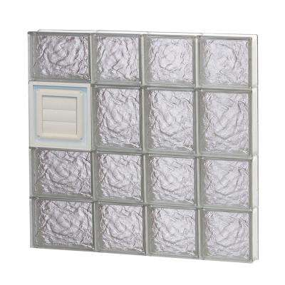 25 in. x 25 in. x 3.125 in. Ice Pattern Glass Block Window with Dryer Vent