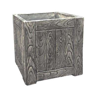 10.2 in. Tall Weathered Oak Lightweight Concrete Faux Wood Square Planter