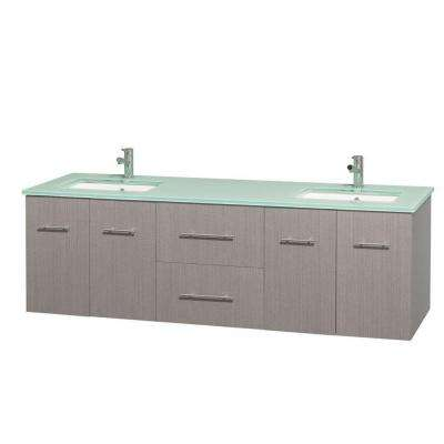 Centra 72 in. Double Vanity in Gray Oak with Glass Vanity Top in Green and Undermount Sinks