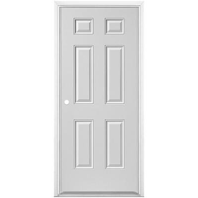 32 in. x 80 in. Utility 6-Panel Right-Hand Inswing Primed Steel Prehung Front Exterior Door with Brickmold
