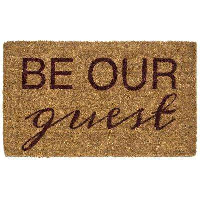 Be Our Guest 18 in. x 30 in. Hand Woven Coconut Fiber Door Mat