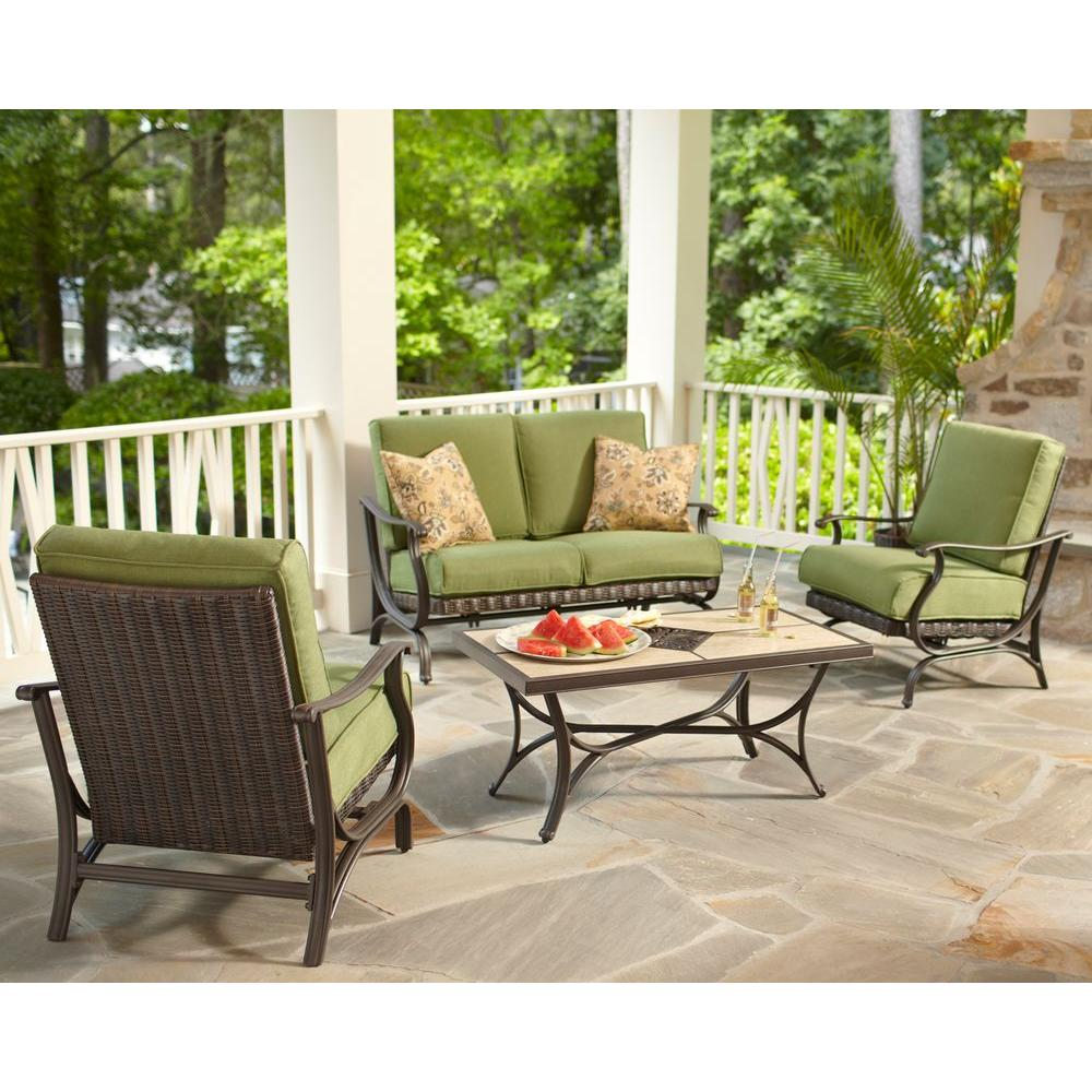 Hampton Bay Pembrey 4-Piece All-Weather Wicker Patio Conversation Set with Moss Cushions