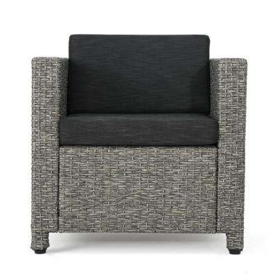 Cadence Mixed Black Iron-Framed Wicker Outdoor Lounge Chair with Dark Grey Cushions