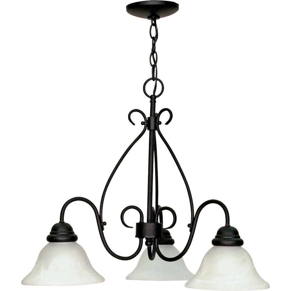 Glomar Adria 3-Light Textured Flat Black Chandelier with Alabaster Swirl Glass