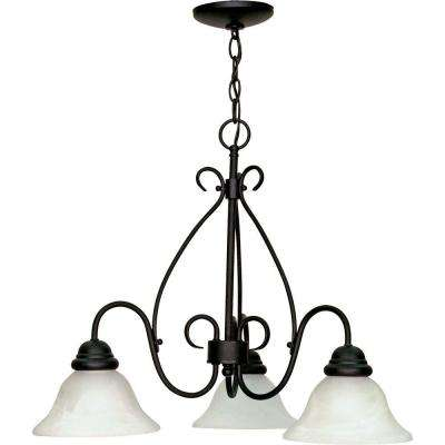Adria 3-Light Textured Flat Black Chandelier with Alabaster Swirl Glass