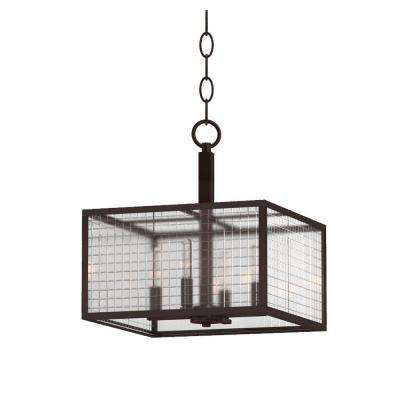 4-Light Oil-Rubbed Bronze Pendant with Etched Clear Glass Shades