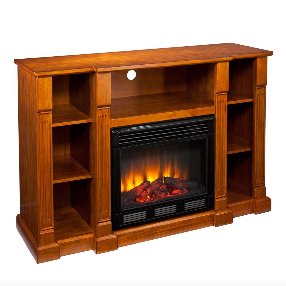 Southern Enterprises Kendall 52 in. Media Console Electric Fireplace in Glazed Pine