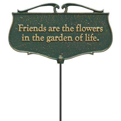 Green/Gold Friends are the Flowers Garden Poem Sign