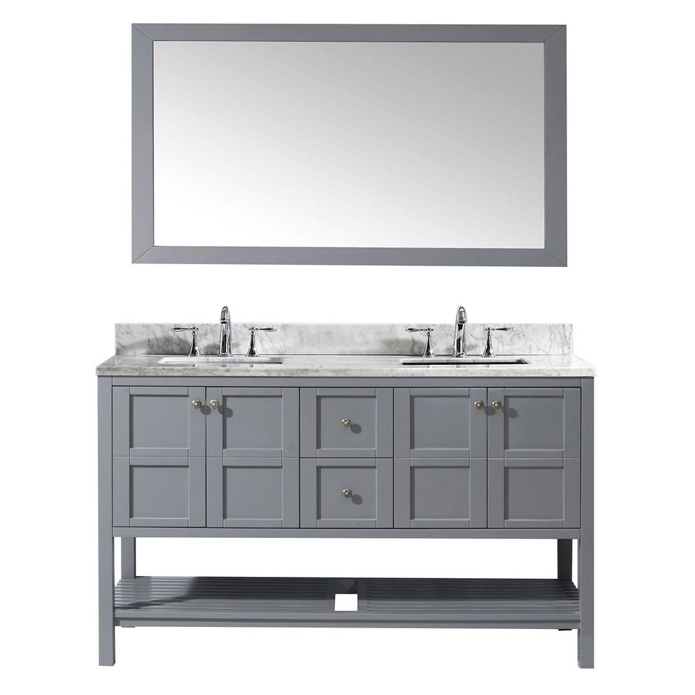 Virtu USA Winterfell 60 in. W Bath Vanity in Gray with Marble Vanity Top in White with Square Basin and Mirror