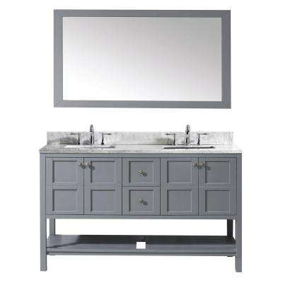 Winterfell 60 in. W Bath Vanity in Gray with Marble Vanity Top in White with Square Basin and Mirror