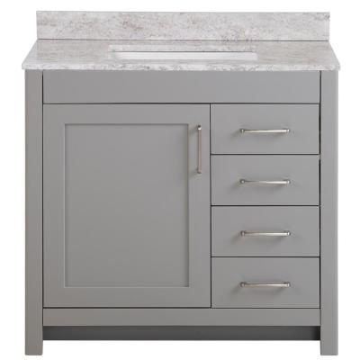 Westcourt 37 in. W x 22 in. D Bath Vanity in Sterling Gray with Stone Effect Vanity Top in Winter Mist with White Sink