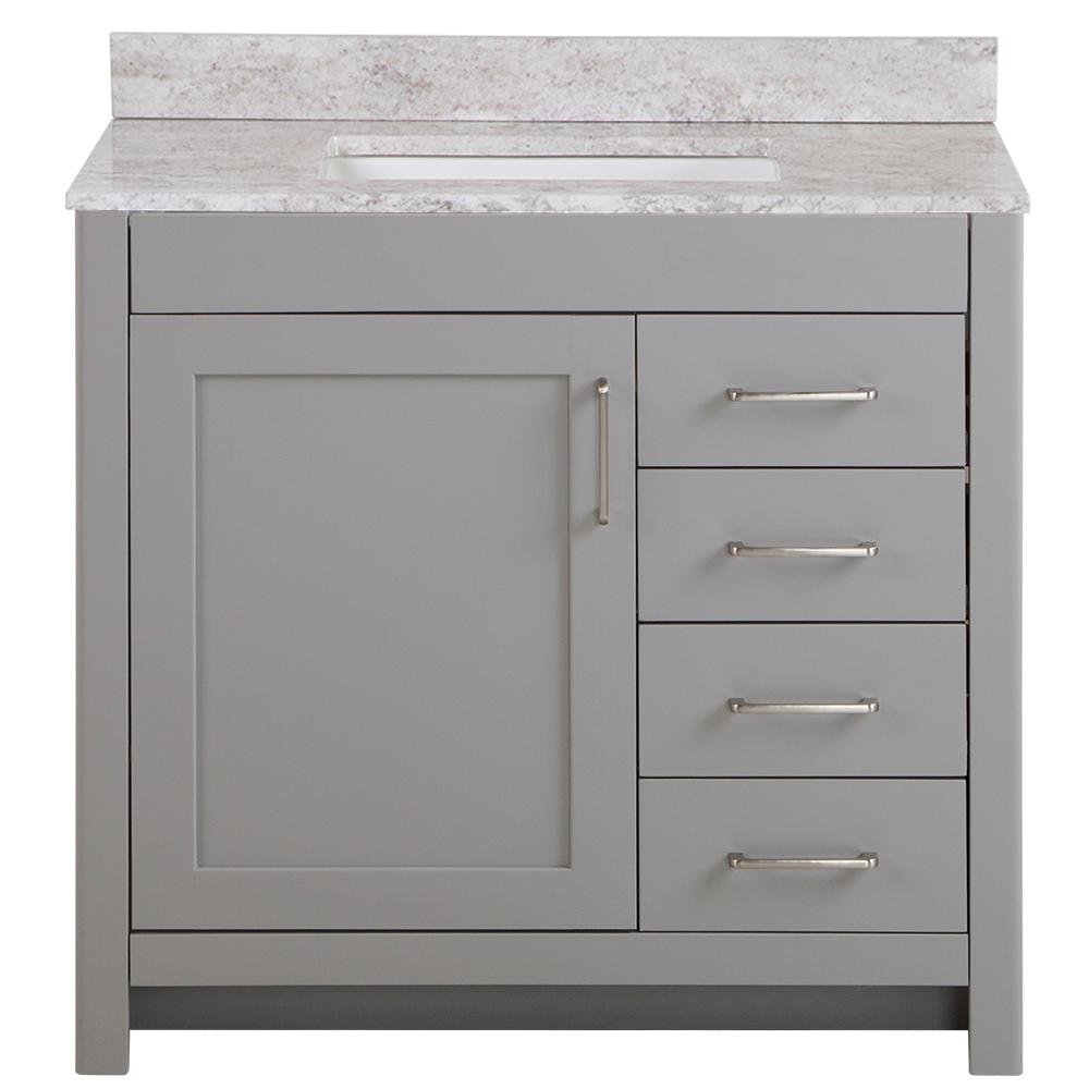 Home Decorators Collection Westcourt 37 in. W x 22 in. D Bath Vanity in Sterling Gray with Stone Effect Vanity Top in Winter Mist with White Sink