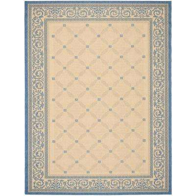 Courtyard Natural/Blue 9 Ft. X 12 Ft. Indoor/Outdoor Area Rug