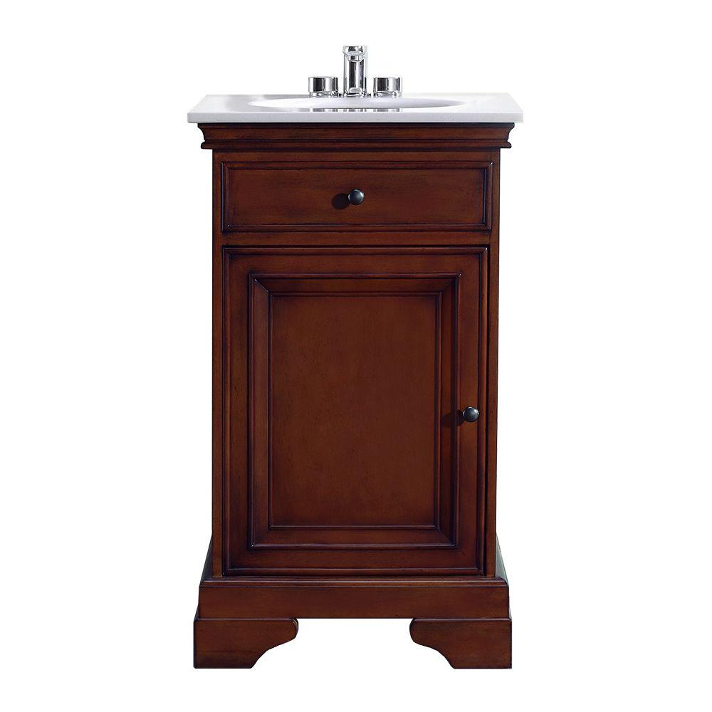 20 in. W x 18 in. D Vanity in Dark Brown Cherry with Marble Vanity Top in White with White Basin