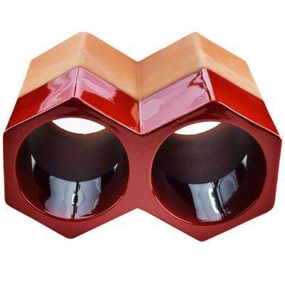 Botellero Red 5 in. x 9-1/4 in. 2-Bottle Terra Cotta Glazed Ceramic Stackable Floor Wine Rack