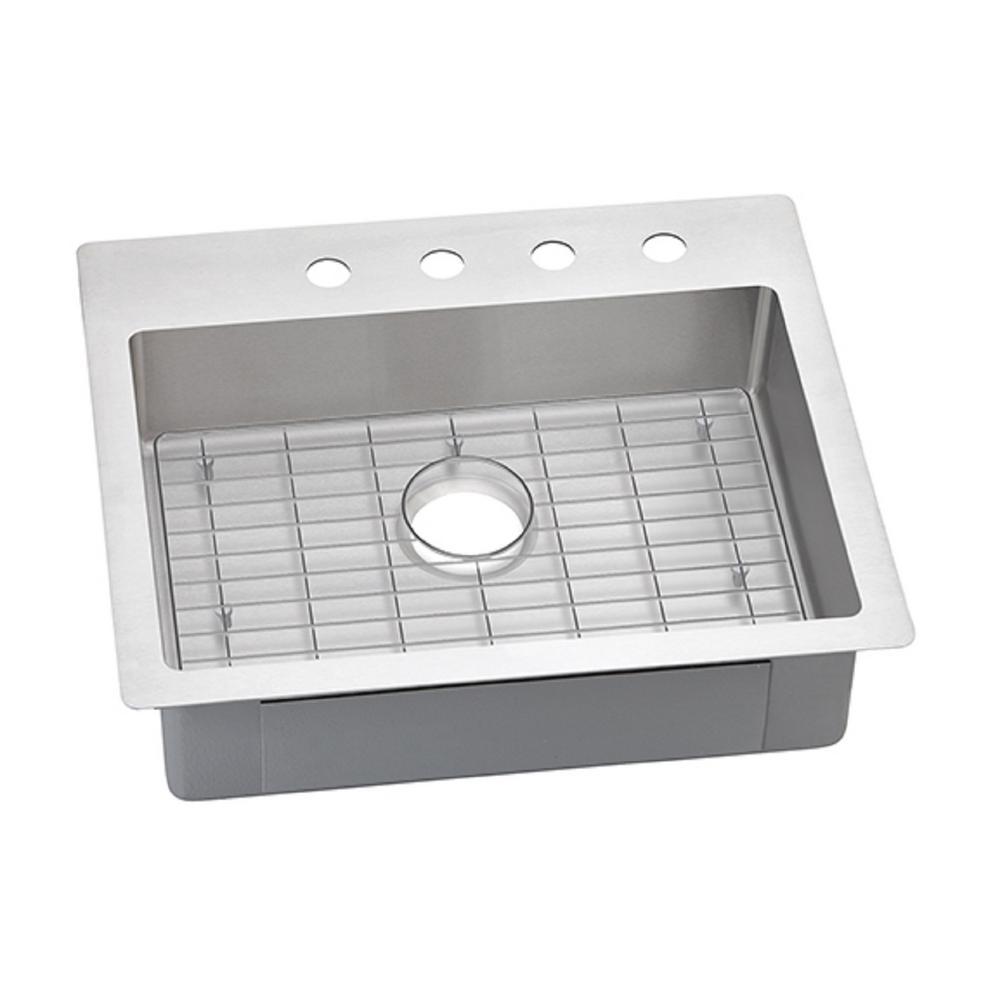 Crosstown Drop-In/Undermount Stainless Steel 25 in. 1-Hole Single Bowl Kitchen Sink Kit