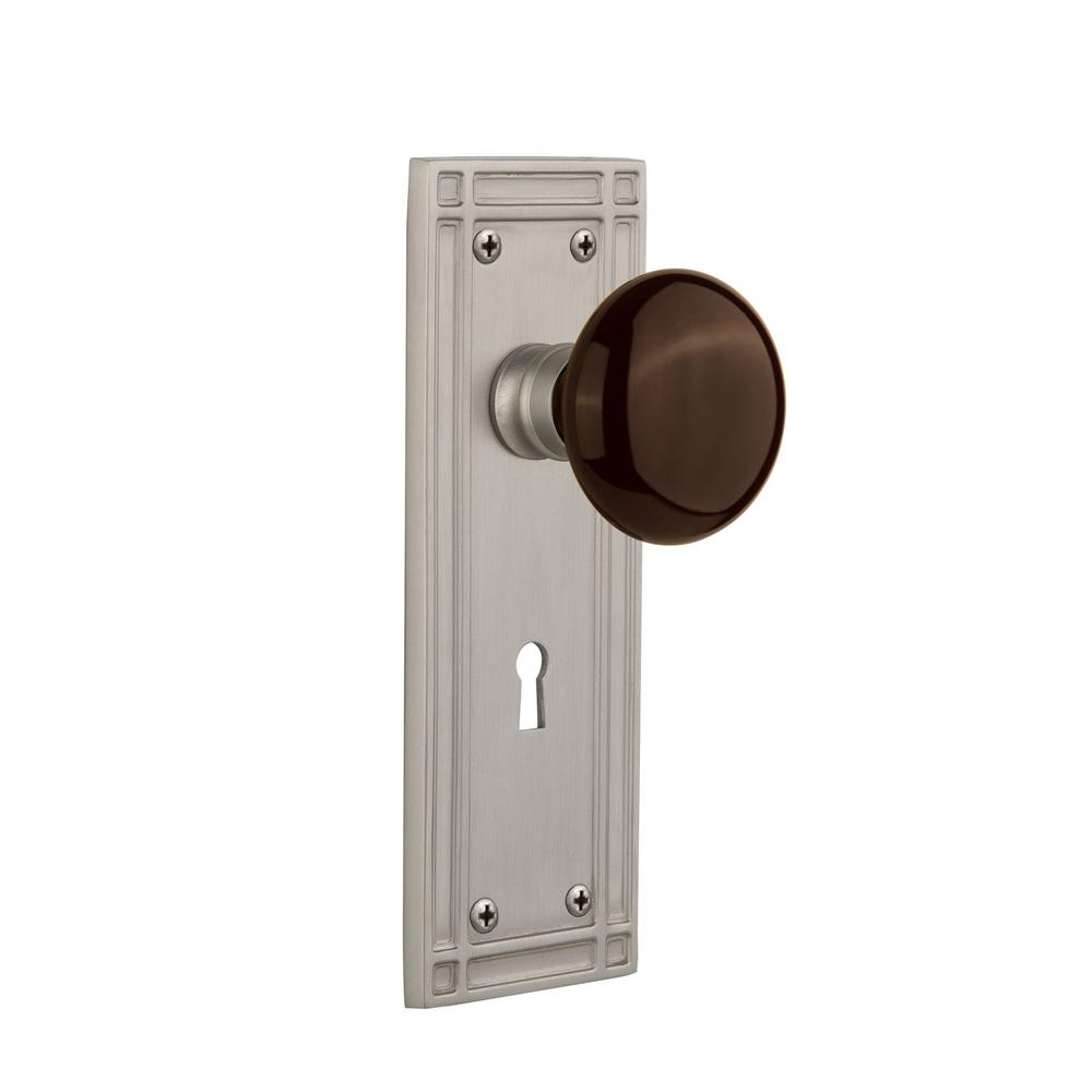 Mission Plate Interior Mortise Brown Porcelain Door Knob in Satin Nickel