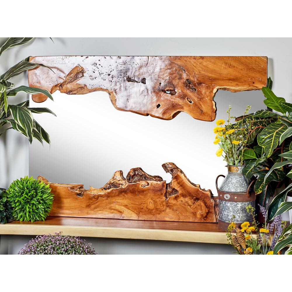 Litton Lane Rectangular Brown Decorative Wall Mirror with Organic Wood Overlays